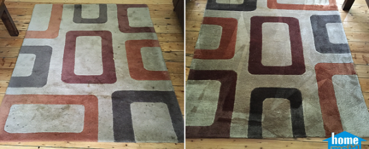 Cleaning traffic stains from a rug in Blackfriars, London SE1