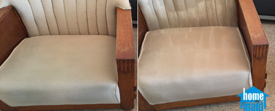 Steam cleaning of a discoloured armchair in Baron's Court, London W14